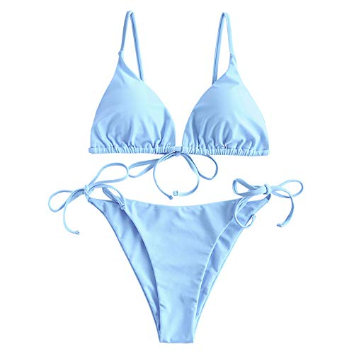 ZAFUL Women's Whip Stitch Textured String Triangle Bikini Set Two Piece Swimsuit (Solid-Light Blue, S)