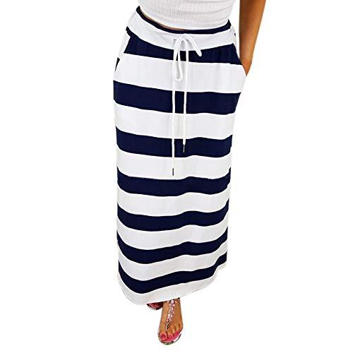 Geilisungren Lange Röcke Damen Mode Gestreift Maxirock mit Tunnelzug Frauen Freizeit Böhmischen Hohe Taille Lose Strandrock Oversized Casual Skirt