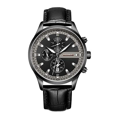 AYDQC Piel clásica for Hombre Relojes de Cuarzo, Resistente al Agua Reloj de Cuarzo analógico Deporte Relojes de los Hombres de Negocios Fecha de Vestir Reloj de los Hombres fengong (Color : B)