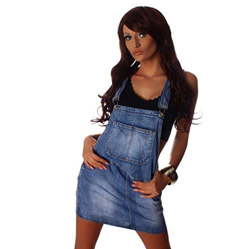 Fashion4Young 10212 Damen Jeansskirt Jeansrock Minirock Trägern Latzrock Rock Jeans Blau 5 Größen (M=38, Blau)
