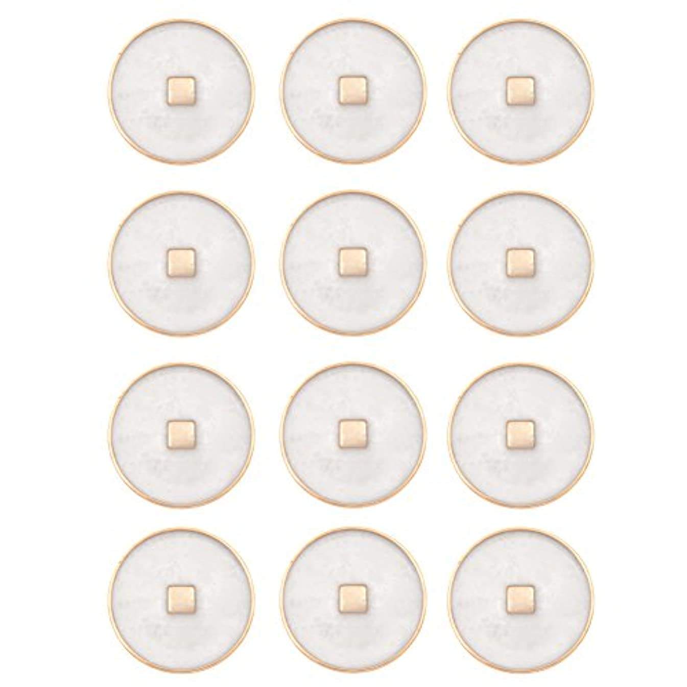 Square Stud Center Design With Epoxy Center ABS Metal Plated Round Shank Button 16Line Gold/Pearl Epoxy