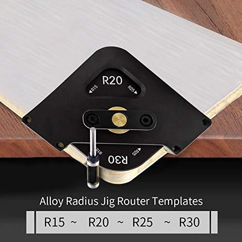 Corwar Plantillas de enrutamiento de Radio de Esquina, fresadora de Madera de Cambio rápido de ángulo R para enrutamiento de Esquinas Redondeadas R15 R20 R30 Attractive Pleasure