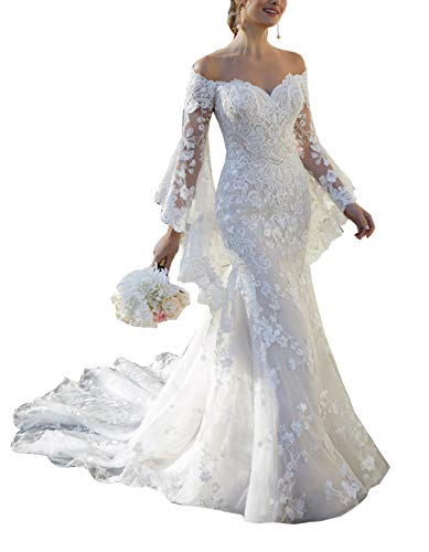 Off Shoulder Lace Mermaid Wedding Dresses for Women with Detachable Horn Long Sleeve Train Bridal Ball Gown