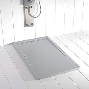 Shower Online Plato de ducha Resina FLOW - 80x170 - Textura Pizarra - Antideslizante - Todas las medidas disponibles - Incluye Rejilla Color Gris y Sifón - Gris RAL 7035