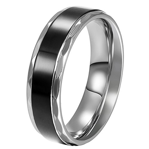 JewelryWe Stainless Steel Black Vintage Love Couple Wedding Bands Mens Ladies Ring for Engagement, Promise, Eternity (Men's Size X)