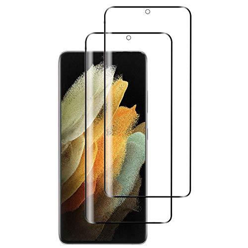 OUJD [2 Piezas] Protector de Pantalla para Samsung Galaxy S21 Ultra, Transparente HD Film Cristal Templado Protector de Pantalla, 9H Dureza Sin Burbujas Anti-Arañazos - Negro