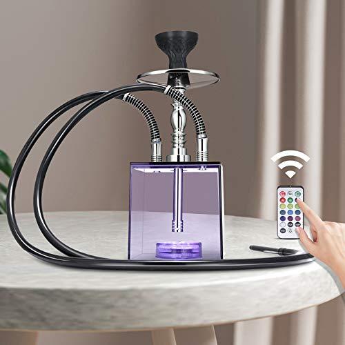 Kacsoo Wasserpfeife Shisha 2 Schläuchen, Acryl Shisha, mit einzigartiger Form und Fernbedienung Bunte LED-Leuchten, leichtes und tragbares Shisha-Set, bestes Weihnachtsgeschenk für Familie und Freunde