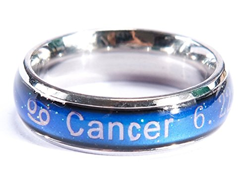 Acchen Mood Rings 12 Constellation Changing Color Emotion Feeling Finger Ring with Box (Cancer)