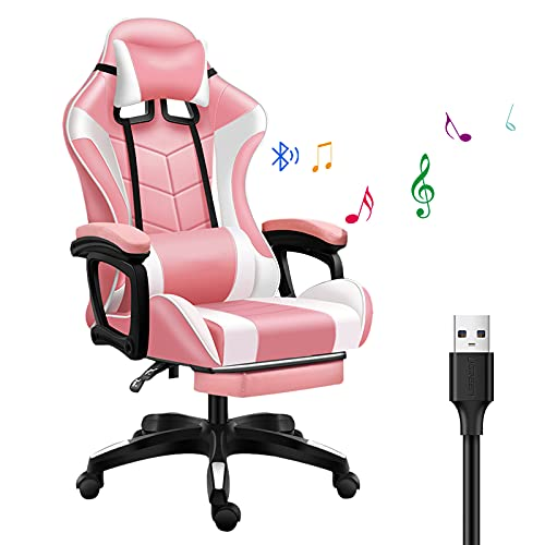 WENCY Ergonómica Silla Gamer con Reposapies, Silla Gaming con Almohada Lumbar Bluetooth y USB, Takamikura Ajustable Reposabrazos Respaldo, Carga Máxima de 150 Kg