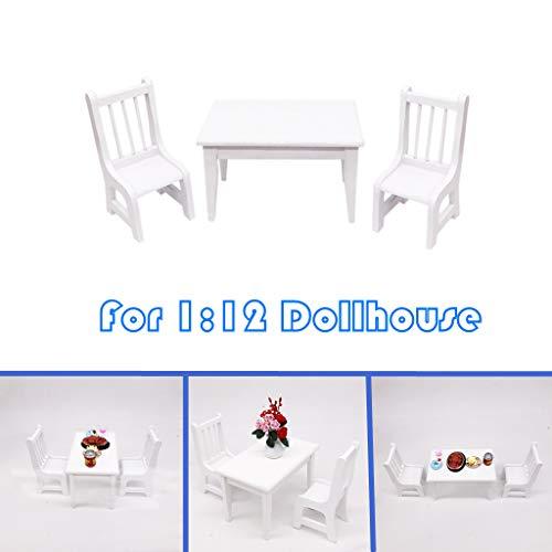 Dapei 1/12 Puppenhaus Möbel Set aus Holz Dollhouse Miniatur Esstisch Lehrstuhl (2er) Kinder Weihnachten Spielzeug Geschenk für Jungen und Mädchen - Weiß