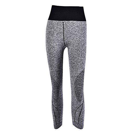 puseky Frauen Sport Yogahosen Fitness 3/4 Länge Hohe Taille Elastische Enge Hosen Leggings für Workout Yoga Laufen
