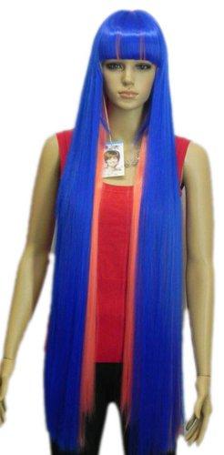 Qiyun Extra Longue Femme Raide F¨ºte Costumee Halloween Costume Anime Synthetique Cheveux Complete Perruque - Bleu