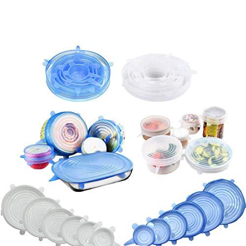 Yolistar 12 Pièces Couvercles en Silicone, Silicone Couvercles Extensibles Réutilisable Couvercle, Protection Environnementale Couvercle Universel de 6 Tailles Differentes, BPA-sans