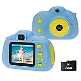 Cocopa Kinder Fotoapparat Kinderkamera für Jungen, Digitalkameras für Kinder kamera 32 GB Videokamera Geschenke für Kleinkinder Spielzeug für Jungen Mädchen im Alter von 3 4 5 6 7 8 9 Jahre alt (Blau)