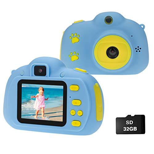 Cocopa Kinder Fotoapparat Kinderkamera für Jungen, Digitalkameras für Kinder Kamera Videokamera Geschenke für Kleinkinder Spielzeug für Jungen Mädchen im Alter von 3 4 5 6 7 8 9 Jahre alt 32 GB Blau