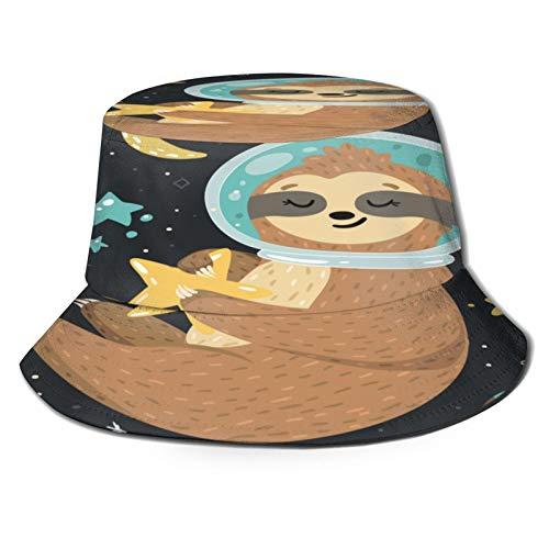 Sombrero de Pescador Unisex Astronauta sonriente lindo bebé perezoso sosteniendo una estrella y volando en el espacio abierto Plegable De Sol/UV Gorra Protección para Playa Viaje Senderismo Camping