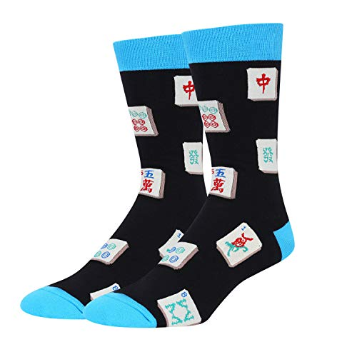 Zmart Men's Mahjong Socks Funny Crazy Novelty Mahjongg Socks in Black Gift