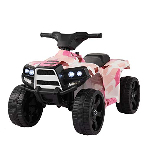 Ride On ATV Electric 4 Wheeler for Toddlers, Battery Powered Ride-On Toy for Boys Girls Quad with LED Headlight, Forward Reverse Switch (Pink Camouflage)