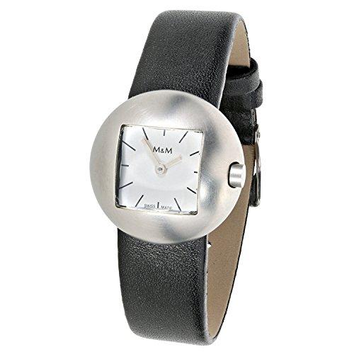 M & M Solbach Design Bracelet Femme Montre à Quartz analogique en Acier Inoxydable Bracelet en Cuir Noir 5401–22