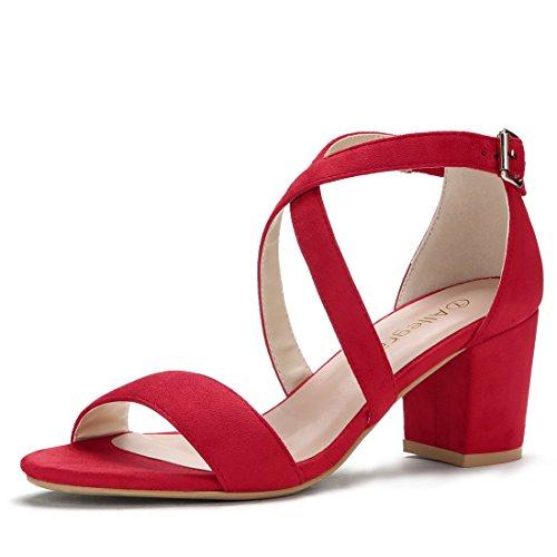 Allegra K Women's Open Toe Cross Strap Mid Block Heel Red Sandals - 8 M US