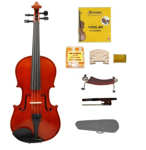 Merano 1/2 Size Acoustic Violin with Hard Case, Bow+Free Rosin+2 Bridges+Extra Set of Strings+Pitch Pipe+Shoulder Rest