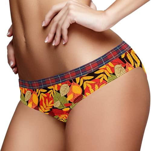 Women's Panties Soft Comfy Stretch Briefs Ladies Underwear M Autumn Fall Tree Leaves Pattern