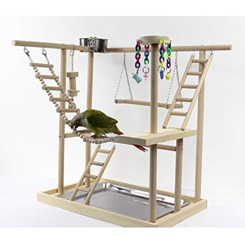2 Layer Bird Perches Parrot Playstand Bird Play Stand Training to Relieve Boredom Station Cockatiel Playground Wood Perch Gym Playpen Ladder with Feeder Cups Toys Exercise Play 47.5x32.5x53cm