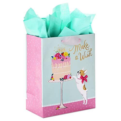 Hallmark 9' Medium Birthday Gift Bag with Tissue Paper ('Make a Wish' Cake and Pug Puppy)