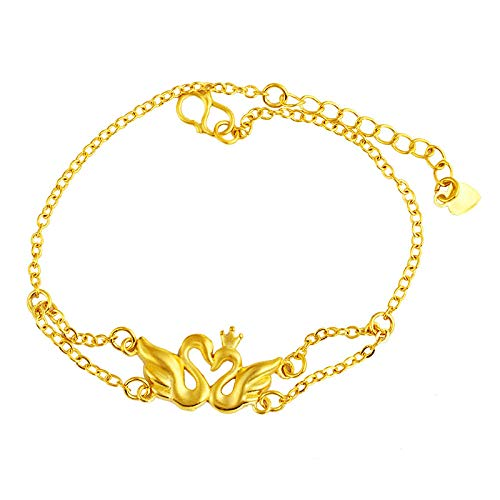 yichengshangmao Arena Oro Doble Cisne Pulsera imitación Chapado en Oro Cisne Colgante Collar Cisne Anillo