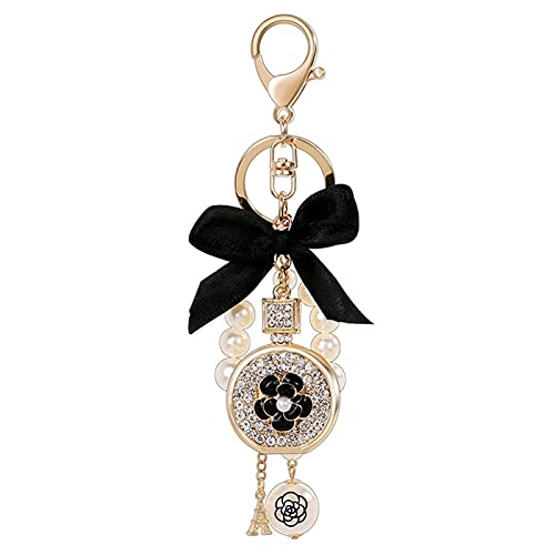 Llavero Creativo Hecho a Mano Colgante Perfume Botella Mariposa Nudo Forma de aleación Llavero Anillo Ornamento Perla (Color : D, Size : F)