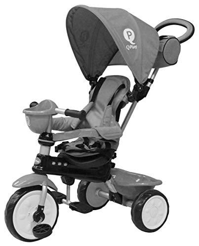 QPlay Kinder Dreirad Comfort 4in1 Grau UV-Dach, Freilauf, Lenkstange, klappbar