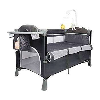 5 in 1 Bedside Bassinet Cribs Portable Toddler Playpen Travel Crib Foldable Baby Cradle Sleeper with Bassinet Includes Mattress Diaper Changing Table Removable Wheels Hanging Toys