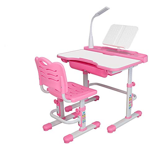 Tafel- en stoelenset voor kinderen, multifunctioneel, met tafel en stoelen om kinderen te leren, muziekstandaard, bureaustoel, stoelen en stoelen kunnen worden versteld, met led-tafel en kinderstoel.