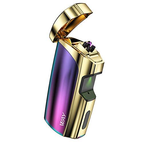 VVAY - Mechero eléctrico Doble Arco, Recargable por USB, con indicador LED, indicador para Vela, mechero, Barbacoa, Cocina, Chimenea sin Gas, Color Blanco