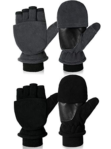 SATINIOR 2 Pairs Ice Fishing Gloves Convertible Mittens Flip Fingerless Gloves Winter Fleece Gloves for Cycling Running Photography (Medium for Women)
