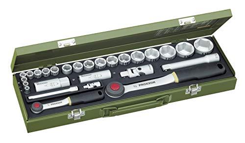 PROXXON Steckschlüsselsatz, Für alle wichtigen PKW-Schrauben mit 1/4'-und 1/2'-Umschaltratsche, 27-teiliges Werkzeug-Set mit Stahlkasten, 23020