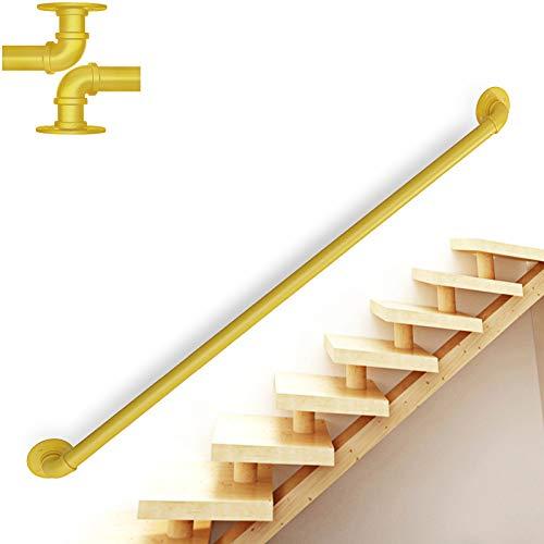 TINS Pasamanos para escaleras Pasamanos para escaleras,pasamanos para ático de jardín de Infantes de Hierro Forjado, pasamanos para Interiores y Exteriores (4ft/120cm, Yellow)