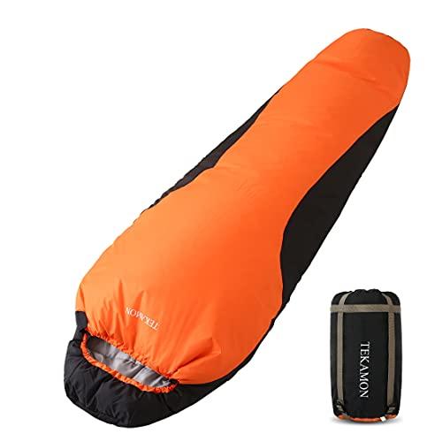 TEKAMON Schlafsack Outdoor Winter, Mumieschlafsack für 3-4 Jahreszeiten, Trekking Camping, Kleines Packmaß & Ultraleicht Schlafsack,für Erwachsene orange 210 * 80 * 50cm