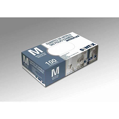 Guantes desechables de Nitrilo Talla M 100 piezas de confort fino, Sin látex, Sin polvo, Alimentos seguros para el servicio de alimentos, Limpieza, Lavado de platos, Medicos