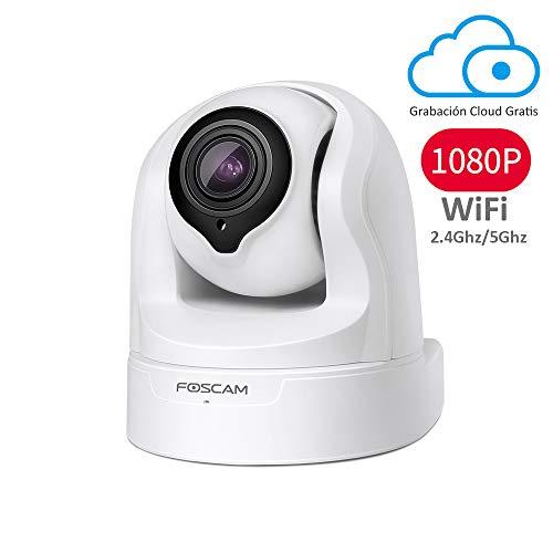 Foscam FI9926P 1080P Pan/Tilt/Zoom 2.4 / 5Ghz Cámara Seguridad IP WiFi Dual, Zoom óptico 4X, detección de Movimiento/Sonido, Visión Nocturna, 8h de Grabación Gratis en la Nube