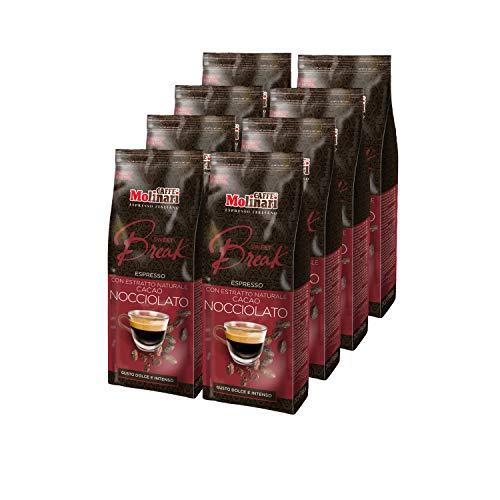 Caffè Molinari® Preparato a Base di Miscela di Caffè Macinato - per Bevanda al Caffè, con Aroma Naturale ed Estratto di Cacao (Confezione da 8 sacchetti da 250gr)