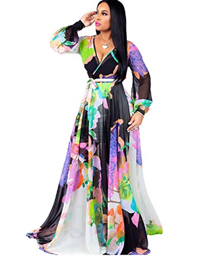 Dora's Womens Chiffon Deep V-Neck Printed Floral Maxi Dress Long Sleeves Dresses Waisted Belt Plus Size