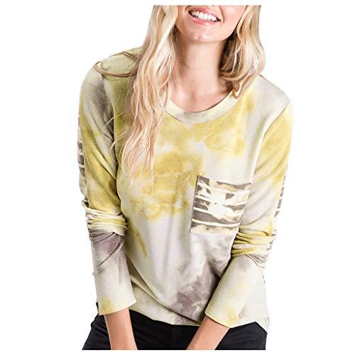 EUCoo Camisas de manga larga para mujer, estilo casual, elegante, de cuello redondo, para mujer