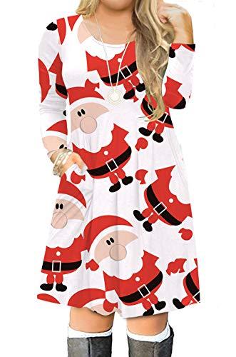 VISLILY Women's Plus Size Christmas Santa Claus Print Casual Loose Tshirt Dress 16W 07G