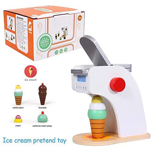 urbenlife Eismaschine Pretend Toy Holz Simulation Eismaschine Spielzeug Set Pädagogisches EIS Spielzeug Set Zubehör für Kinder Kinder Brilliant Safety