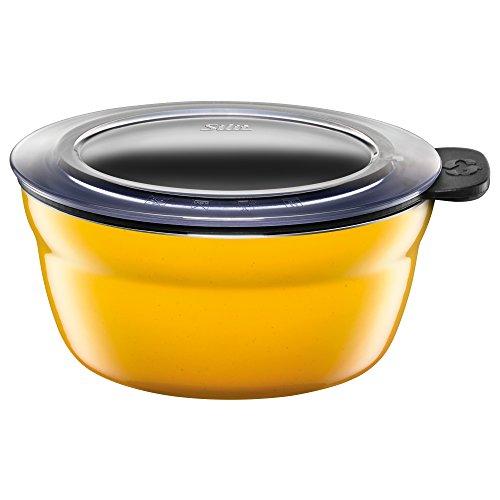 Silit Fresh Bowls Vorratsdose Ø 12 cm, Silargan Funktionskeramik, Multifunktions-Schale, luftdichter Aroma-Deckel, spülmaschinengeeignet, gelb