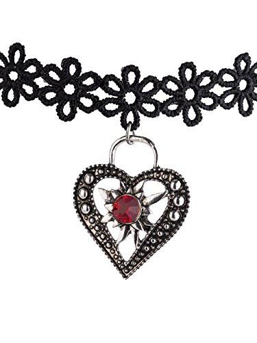 Kropfband Blume, Herz und Edelweiss - Trachten-Band elastisch für Dirndl und Lederhose (Schwarz)