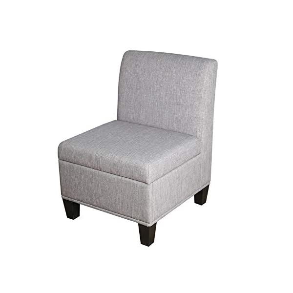 Nost & Host Accent Chair with Storage Armless Tufted Removable Lid Slipper Padded...