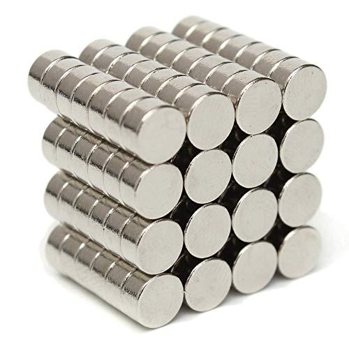 HuhuswwBin Neodym-Magnete, Zylinderform, Neodym-Magnet, N50, magnetisch, rund, 6 x 3 mm, super stark, seltene Erde, Neodym-Magnete für Kunst, Handwerk, Hobby, Zuhause und Büro multi