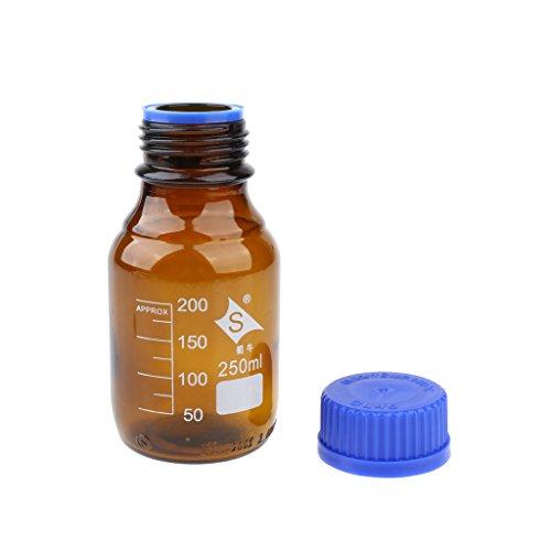 D dolity 1pieza Botella de cristal con rosca Laboratorio Intento Ensayo Botella Jarra Medidora 100–1000ml–Marrón Braun 250ml